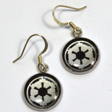 Star Wars Imperial Crest Silver Resin Earrings