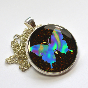Holographic Butterfly Resin Pendant