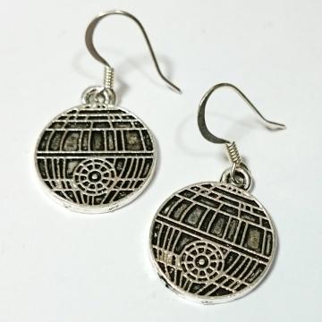 Star Wars Death Star Silver Dangle Earrings