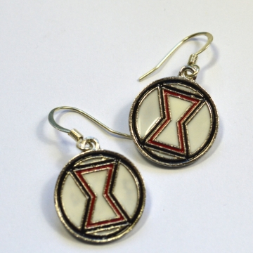 Black Widow Logo Dangle Earrings