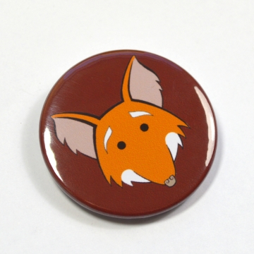 Smiling Fox Pinback Button Badge