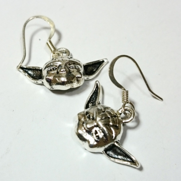 Yoda Star Wars Silver Earrings