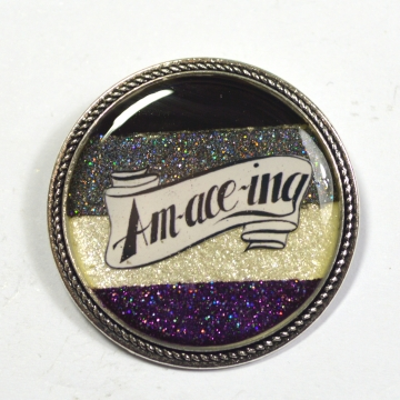 Amaceing Asexual Pride Glitter Resin Brooch