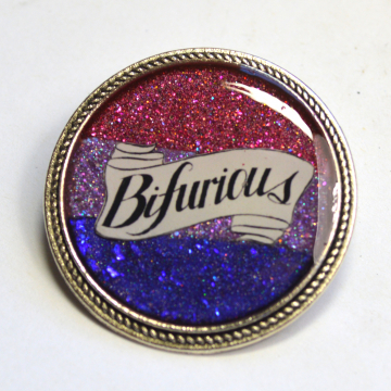 Bifurious Bisexual Pride Bi Queer LGBT Glitter Resin Brooch