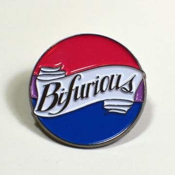 Bifurious Bisexual Pride Enamel Pin LGBTQIA+ Queer Bi Pride