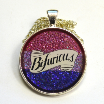 Bifurious Bisexual Pride Queer LGBT Glitter Resin Pendant