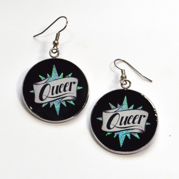 Queer LGBTQIA Rainbow Iridescent Star Resin Earrings
