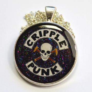 Cripple Punk Skull Disability Spoonie Cane Resin Pendant