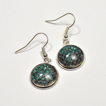 Dragon Skin Teal to Purple Drop Earrings Snake Skin Real Snake Skin
