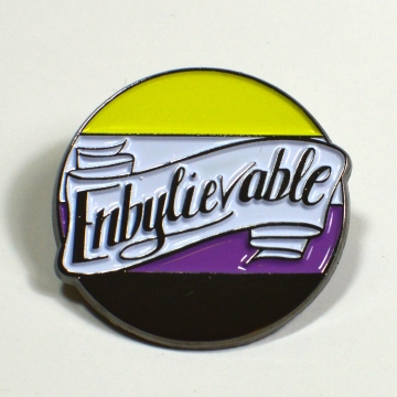 Enbylievable Non-Binary Enby Pride Enamel Pin Queer LGBT
