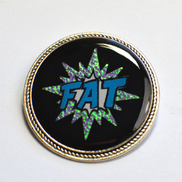 Fat Pride Comic Splash Rainbow Iridescent Brooch