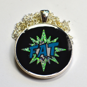 Fat Pride Comic Splash Rainbow Iridescent Pendant