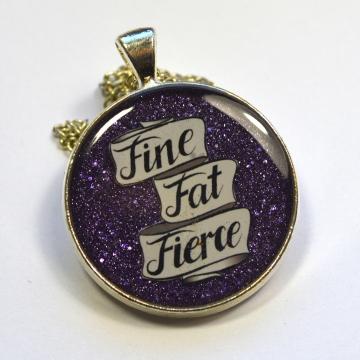 Body Positive Fat Pride Purple Handmade Resin Pendant