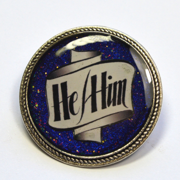 Pronouns He-Him Resin Brooch LGBT