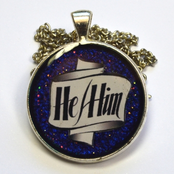 Pronouns He-Him Resin Pendant LGBT