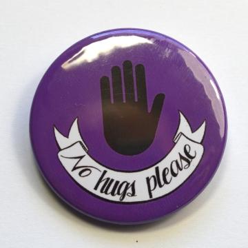 No Hugs Please Stop Hand Badge