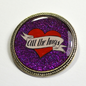 All The Hugs Consent Heart Purple Resin Brooch