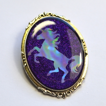 Purple Glitter Holo Holographic Unicorn Fancy Brooch
