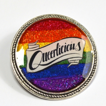 Queerlicious Queer Pride Rainbow Glitter Brooch