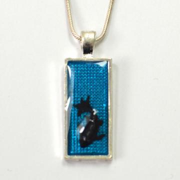 Rectangle black Koi Fish Pendant