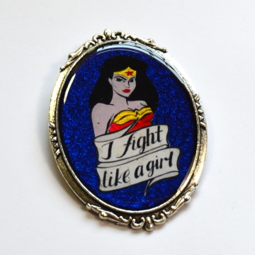Retro Wonder Woman I Fight Like A Girl Portrait Brooch
