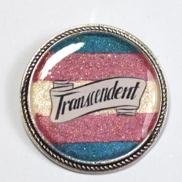 Transcendent Trans Pride Queer Glitter Resin Brooch