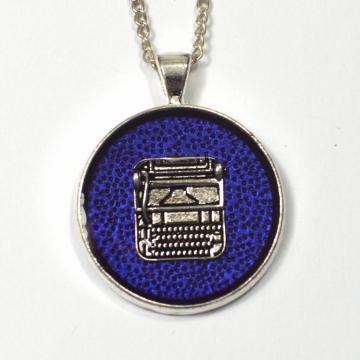Silver typewriter pendant writer gift