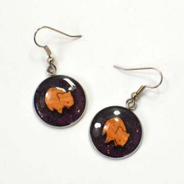 Wombat Australian wooden handmade earrings