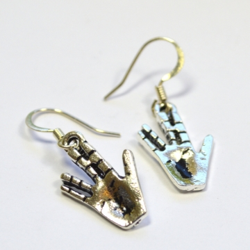 Star Trek Spock Vulcan Salute Silver Dangle Earrings
