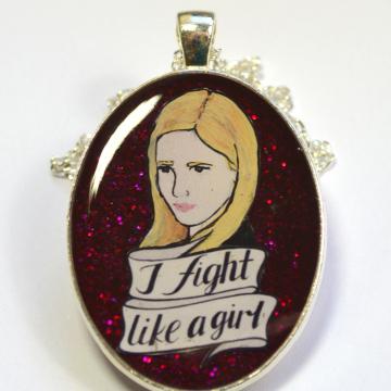"""Buffy the Vampire Slayer Feminist """"I Fight Like A Girl"""" Portrait Pendant"""