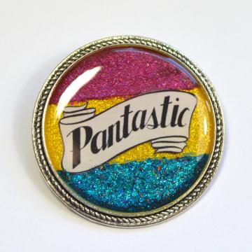 Pantastic Pansexual Pride Pan LGBT+ Queer Glitter Resin Brooch