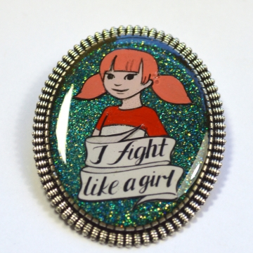 "Penny Inspector Gadget 80s Retro Feminist ""I Fight Like A Girl"" Resin Brooch"