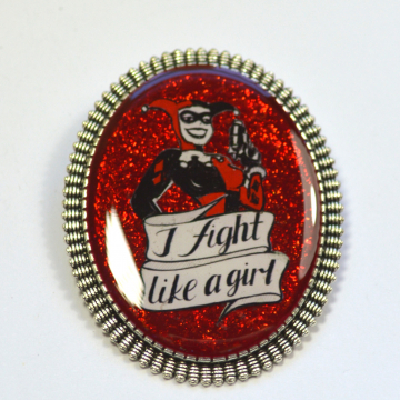"Harley Quinn Animated Series Feminist ""I Fight Like A Girl"" Resin Brooch"