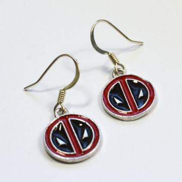 Deadpool Logo Geeky Dangle Earring Nickel Free Wires