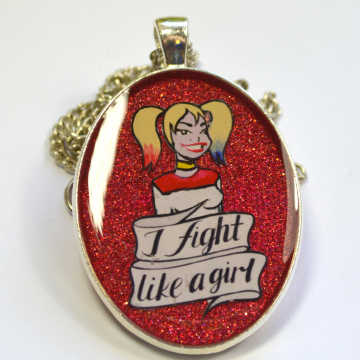 "Harley Quinn Suicide Squad Feminist ""I FIght Like A Girl"" Portrait Pendant"