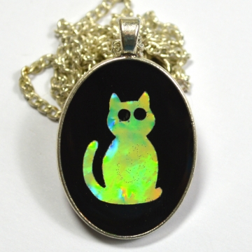 Kitty Cat Kitten Holographic Resin Pendant