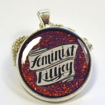 Feminist Killjoy Multichrome Purple Resin Pendant