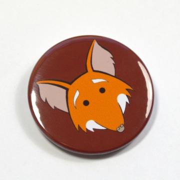 Cartoon Cute Smiling Fox Badge Pinback Button