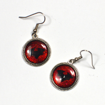 Gothic Red and Black Bat Earrings