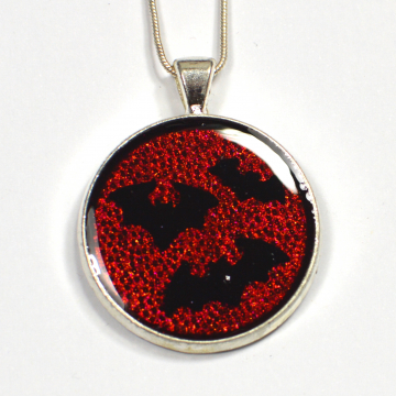 Gothic Red and Black Bat Pendant