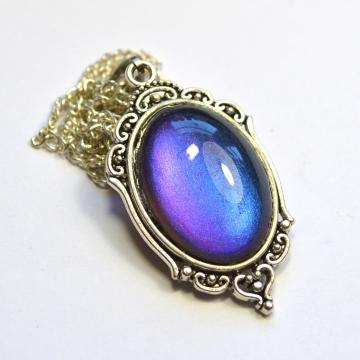 Blue to Purple Multichrome Victorian Silver Pendant