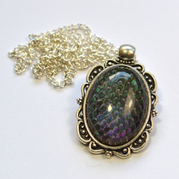 Dragon Skin Teal to Purple Oval Pendant