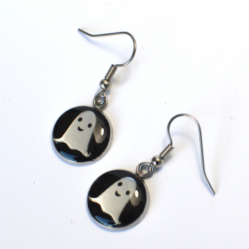 Tiny Ghost Silver Earrings
