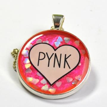 """Janelle Monáe """"Pynk"""" Pink Hearts Resin Pendant"""
