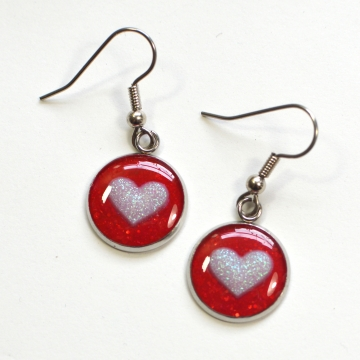 Small Red and Pink Hearts Earrings