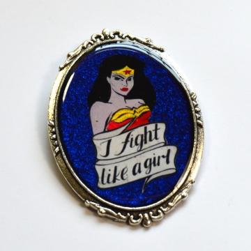 Retro Wonder Woman I Fight Like A Girl Feminist Portrait Brooch