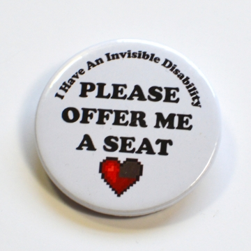 Invisible Disability Offer Me A Seat Heart Badge