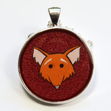 Smiling Red Fox Hand Painted Resin Pendant