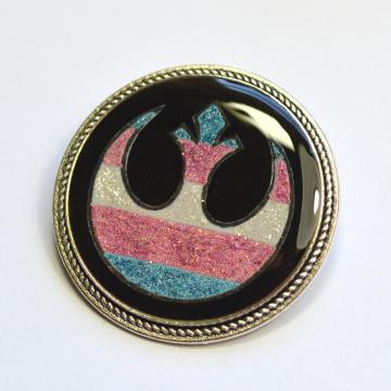 Trans Flag Rebel Alliance Glitter Brooch