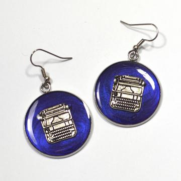Silver Typewriter Earrings